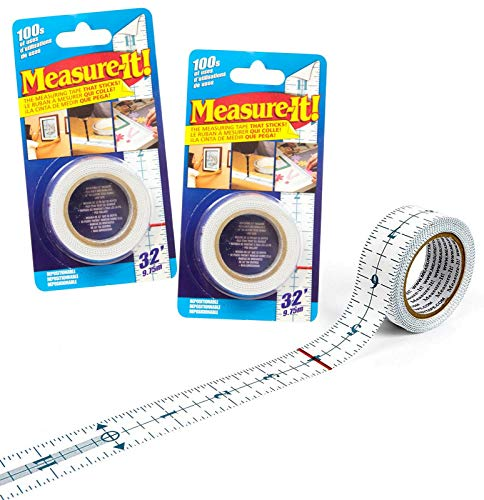 2 Packs of MEASURE-IT! Adhesive Measuring Tape Multi-purpose tape for home school and office Decorating Home improvement Painting Arts & Crafts Sewing Hanging Pictures and More Each 32 Feet