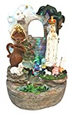 14 Inch Fatima with Children with Water Fountain and Light Saint Francis Garden Deco Home Decoration