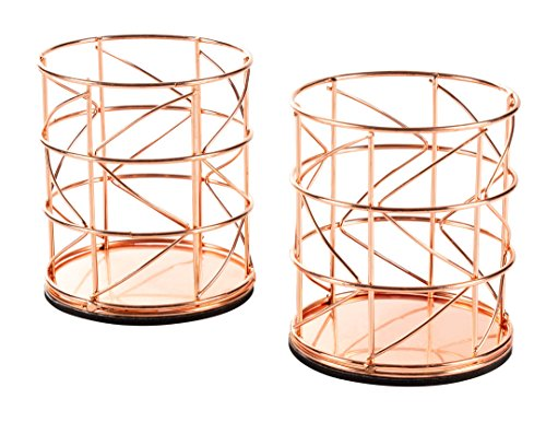 Rose Gold Pencil Holder - 2-Pack Metal Wire Makeup Brush Organizer for Home, School, Office Desk Supplies, 3.6 x 3.6 x 4.1 ()