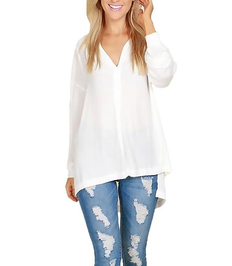 Huixin Blusas De Mujer Elegantes Camisas Basicas Casual Chiffon Tops con Abertura Asimetricas Señoras Camisetas Manga