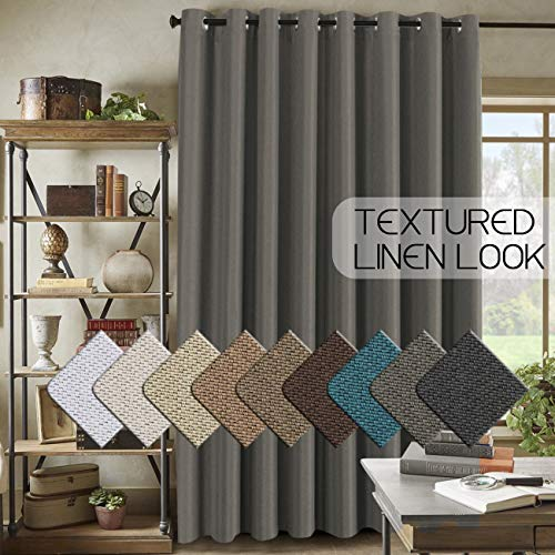 Extra Wide Linen Curtains for Patio Blackout Linen Curtain for Sliding Glass Door (W100