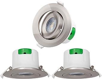 Lamparas Plafon Focos Downlight de LED Empotrables de Techo Giratorio Níquel Plástico 9W Luz Fria 5000K Agujero del Techo Diámetro 85-90MM AC100~240V Pack de 3 de Enuotek: Amazon.es: Iluminación
