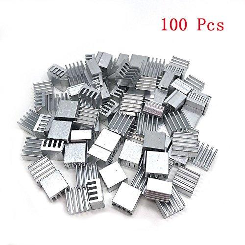 Yootop 100 Pcs Aluminum Heatsink Raspberry Pi Cooler Circuit Board 8.5mm x 8.5mm x 5mm(0.33''x0.33''x0.19'') by Yootop