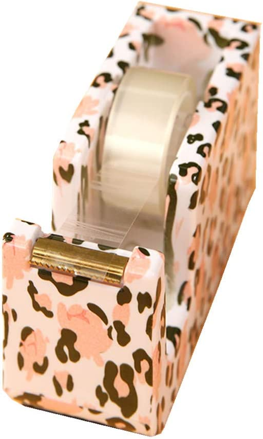 MultiBey Leopard Flower Printed Tape Dispenser Gold Metal Core Office Stationery Student Supplies
