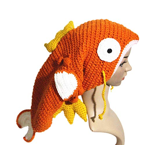 BIBITIME Orange Big Goldfish Hat Handmade Knit Animal Cap Funny Costume Beanie (Adult, Head Circumference 24