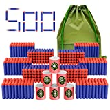 Coodoo Compatible Darts 500 PCS Refill Pack Bullets for Nerf N-Strike Elite Series Blasters Toy Gun - with Soft EVA Target and Storage Bag
