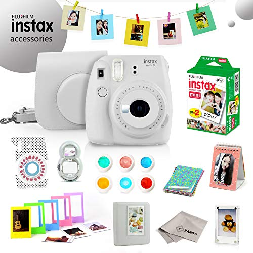 Fujifilm Instax Mini 9 Bundle (Smokey White) – Fuji Camera Instant Film (20 Sheets) + 11-in-1 Accessory Bundle – Carry Case, 6 Color Filters, 2 Photo Albums, Assorted Frames, Selfie Lens & Much More