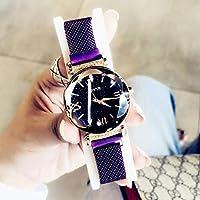 YUWJ Women's Watch,Fashion Analogue Quartz Watches Magnetic Mesh Band Starry Sky Dial Simulated Diamond Wrist Watches for Girl/Women Waterproof As A Gift,Purple