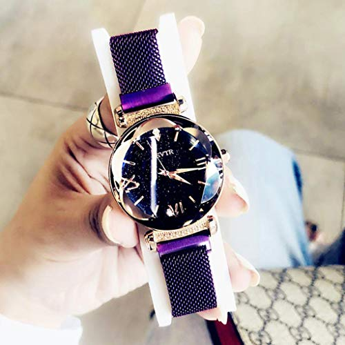 YUWJ Women's Watch,Fashion Analogue Quartz Watches Magnetic Mesh Band Starry Sky Dial Simulated Diamond Wrist Watches for Girl/Women Waterproof As A Gift,Purple