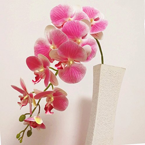 jiumengya 5pcs PU Orchids 3D Printing Effect Orchid Artificial Real Touch Pink Phalaenopsis Orchids for Wedding Centerpieces Home Decorative Flowers (pink)