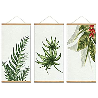 Hanging Poster with Wood Frames Beautiful Green Plants Home Wall x3 Panels, Original Creation, Fascinating Artisanship