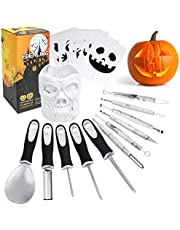 Professional Pumpkin Carving Tools,11 Pcs Anti-Slip Handle Heavy Duty Stainless Steel Sculpting Tools for Halloween with Skull Shaped Holder and 6 Pcs Carving Templates