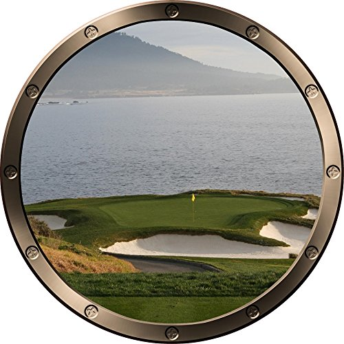 "12"" Porthole Ship Window Ocean Sea View Golf Course Ocean #1 Pewter Wall Decal Kids Sticker Baby Room Home Art Décor Den Man Cave Graphic Small"