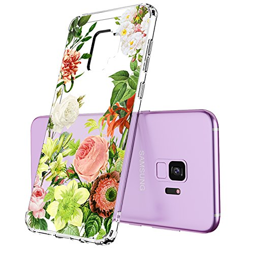 Galaxy S9 Case, Clear Galaxy S9 Case, MOSNOVO Botany Flower Floral Design Clear Transparent Hard Plastic Case with Shockproof TPU Bumper Protective Back Cover for Samsung Galaxy S9 (2018)