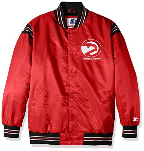 STARTER NBA Atlanta Hawks Men's The Enforcer Retro Satin Jacket, Large, Red