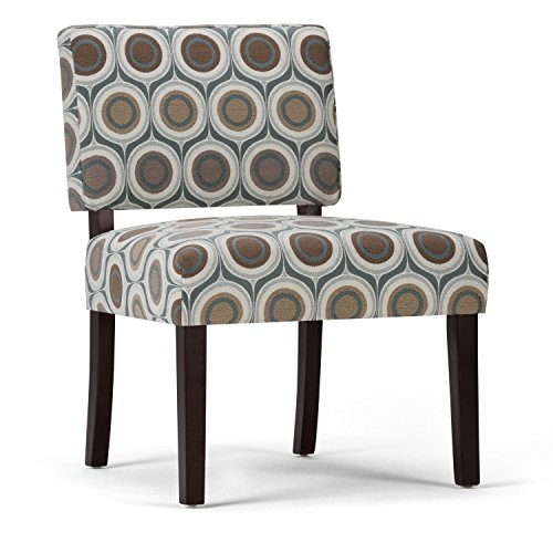Simpli Home Virginia Accent Chair, Circle Patterned Brown and Grey