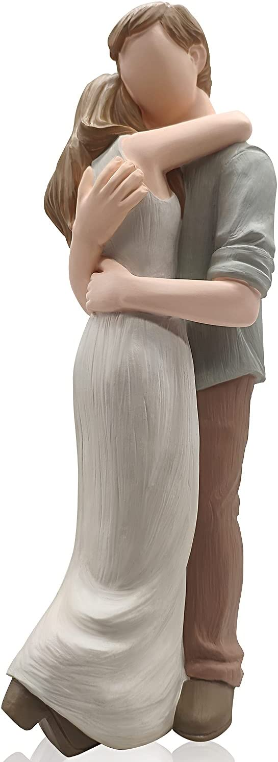 Jalunth Love Couple Figurines Statue - Anniversary Engagement Resin Hand-Painted Romantic Art Sculpture Decor Home Decoration Ornament Gift for Wedding Valentines Birthday Christmas