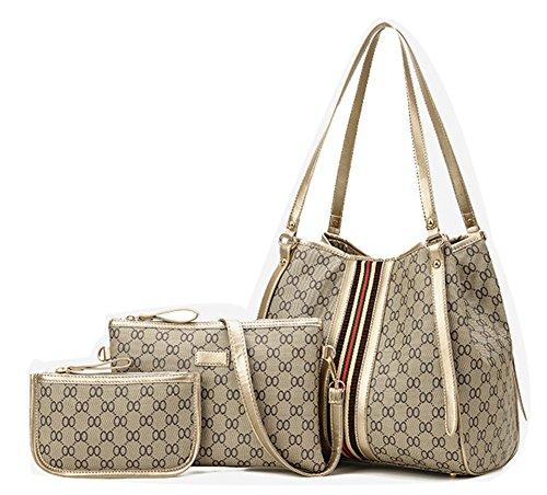 YVWTUC Elegant Handbag Printed Shoulderbag Purse 3-Pack Multi-Purpose Female Bag Beige Beige