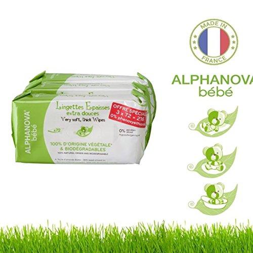 ALPHANOVA Lingettes Epaisses LOT de 3 paquet de 72 lingettes