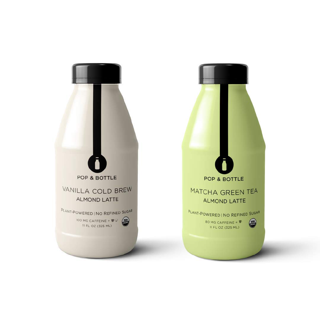 Pop & Bottle Lattes - VANILLA + MATCHA BESTSELLER PACK | 12 pack, 11 oz each (organic, no refined sugar, fair trade, plant based, paleo, made with almond milk, superfood enriched)