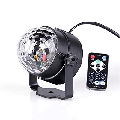 Led Stage DJ Disco Party Ball Projector Lights 3w Strobe Lamp with Remote Control 7 Color Sound Activated Stage Lighting Effect Show Wedding light from U`King