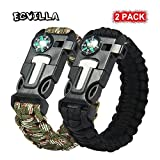 2 PACK Multifunctional Paracord Bracelet, ECVILLA Outdoor Survival Kit Parachute Cord Buckle W Compass Flint Fire Starter Scraper Whistle for Hiking Camping Emergency More (black+camouflage)