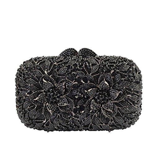 De Cristal Black Luxe Sac Femme Le Sac Main à Soirée Diamants 5wZffA