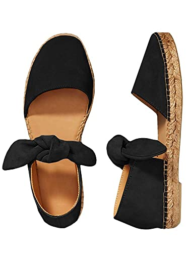 7d93798fe624 Huiyuzhi Womens Pointed Toe Ballet Flat Comfort Slip On Bow Tie Cute  Leather Mule Shoes (
