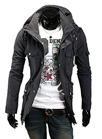 Fine Mens Military Style Hipster Hooded Long Sleeve Jacket