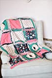 Floral Baby Girl Crib Quilt - Coral / Mint / Gold / Navy Blue- QUILT ONLY
