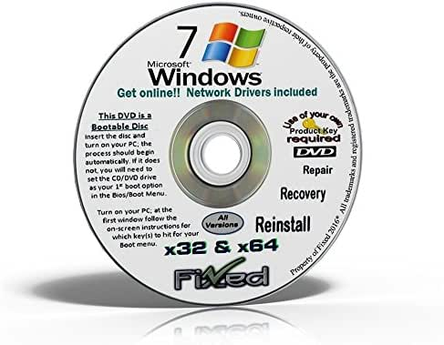 Recovery disc compatible w/ Windows 7 All in One (Starter, Home Basic, Home Premium, Professional, Ultimate) 32/64 Bit Repair, Recovery, Restore, Re-install DVD w/Network Drivers