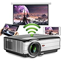 Android WiFi Projector 3500 Lumen- Support 1080P Full HD WiFi Airplay Miracast- LCD Multimedia LED Home Theater Movie Video Game- HDMI USB SD VGA Built-in Speaker
