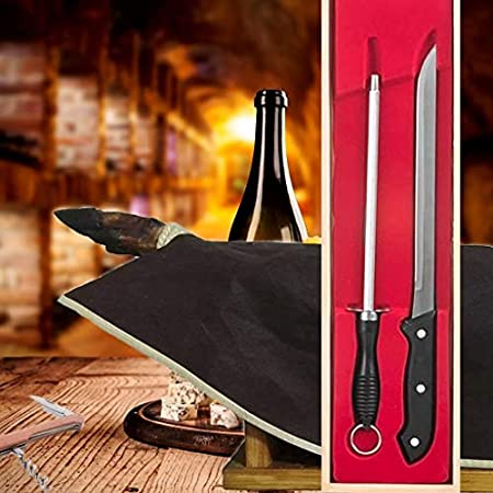 BlendNature Cuchillo Jamonero Profesional y Chaira en Estuche Madera Regalo + Cubre Jamon + Practico Abridor Botellas de Vino – para Regalarte y Regalar