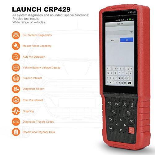 Launch CRP429 OBD2 Scanner Scan Tool Full System Code Reader 8 Reset Functions of ABS Brake Bleed, Oil Reset, EPB, BMS, SAS, DPF, Injector Coding and IMMO, Battery Voltage Graphing, One-Click Update
