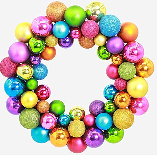 - Highpot Glittery Christmas Balls Wreath Christmas Ornament Garland Festive Holiday Decorations for Wedding Party or Anniversary (Multicolor)