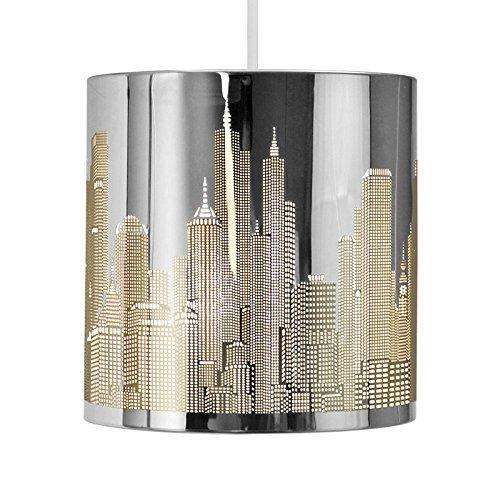 Modern Chrome New York Skyline Ceiling Pendant Shade