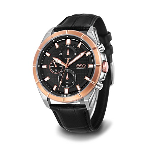 ESQ Men's Sport Stainless Steel Analog-Quartz Watch with Leather-Pig-Skin Strap, Black, 24 (Model: 37ESQE13301A)