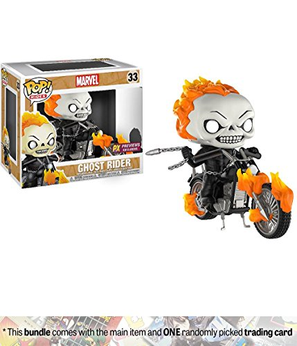 (PX Exclusive): POP! Marvel x Marvel Universe Vinyl Figure + 1 Official Marvel Trading Card Bundle [#033] (Ghost Rider Skull)