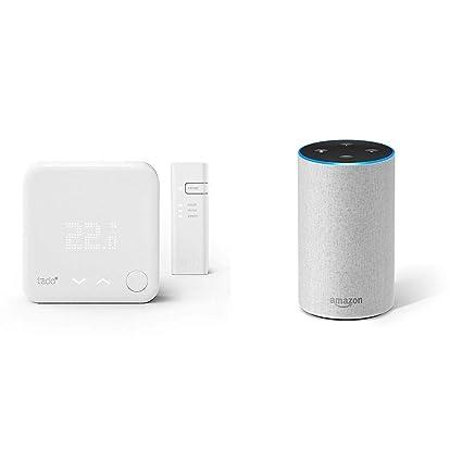 Echo gris claro + tado° Termostato Inteligente Kit de Inicio V3+ - Control inteligente de