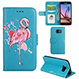 Samsung Galaxy S7 Edge Case, Ailisi [Pink Flamingo] Leather Wallet Flip Phone Case Magnetic Cover with TPU Inner, Shock-Absorption Protective Case with Card Slots, Stand Function (Blue)