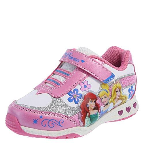 Disney Princess Girls' Pink White Girls' Princess Light-Up Runner 5 Regular (Princess Shoes For Toddlers)