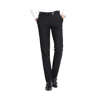 1882d33645 TM Exposure Men's Dress Pants Slim Fit Wrinkle Resistant Black Flat Front  30X30