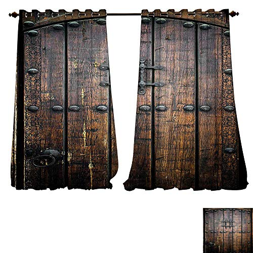 (Youdeem-home Thermal Curtain Panels Collection Ancient Wooden Door Historical Vintage Exterior Medieval Structure Artistic Picture tab Curtain Panels W84 x)