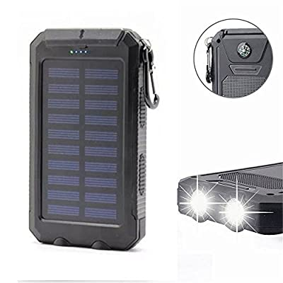 20000mAh Solar Power Bank Solar Charger Waterproof Portable External Battery USB Charger Built in LED light with Compass for iPad iPhone Android Cellphones