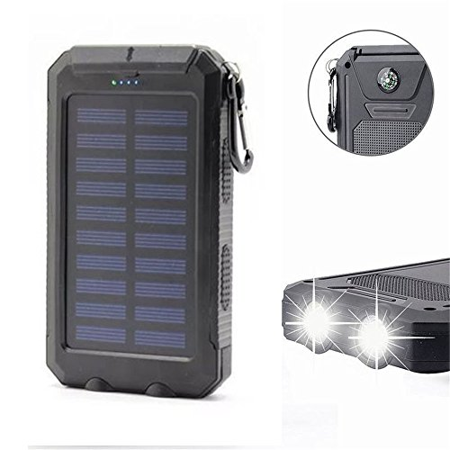 20000mAh Solar Power Bank Solar Charger Waterproof Portable External Battery USB Charger Built in LED light with Compass for iPad iPhone Android Cellphones (Black) by Digital-kingdom