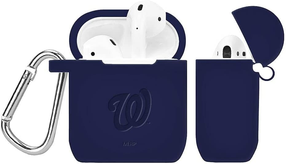GAME TIME Washington Nationals Debossed Silicone Case Cover Compatible with AirPod Battery Case Navy Blue