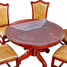 """Round Table Cover Bed Sofa Side Dining Coffee End Tabletop Protector Frosted Plastic Tablecloth PVC Vinyl Wipeable Water Resistant Circle Desk Furniture Protective Pad Easy to Clean 30"""" Inch Diameter"""