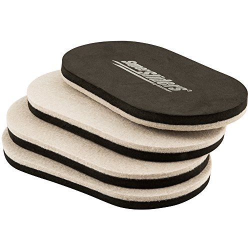 "Reusable Felt Sliders for Hard Surfaces – Move Heavy Furniture Quickly and Easily with Furniture Sliders 9-1/2"" x 5-3/4"" Large Oval SuperSliders (4 Pieces)"