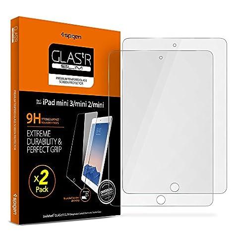 Spigen iPad mini Screen Protector Tempered Glass 2 Pack for Apple iPad Mini 1 / iPad Mini 2 / iPad Mini (Screen Protector For Mini Ipad 1)