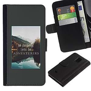 iKiki Tech / Cartera Funda Carcasa - Adventure Vacation Alaska Lake Nature - Samsung Galaxy S5 Mini, SM-G800, NOT S5 REGULAR!